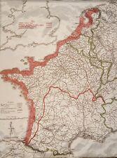 """WW2 D-Day cloth """"silk"""" Invasion Escape Map"""