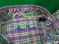 Alan Flusser Button Down LS Shirt Paisley Purple Multicolor Flip Cuff Size S EUC