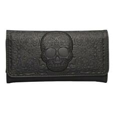 Loungefly Wallet Sugar Skull Black Trifold Clutch Faux Leather Gothic Skeleton