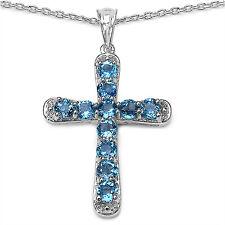 Swiss Blue Topas Kreuz Anhänger Mit Kette 925er Silber Unikatschmuck - Neu