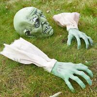 Prextex Cara y Brazos de Zombi para Halloween con Estacas para Clavar Jardín