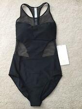 NWT Lululemon Race With Me One Piece Swimsuit Size 4 Black mesh panels