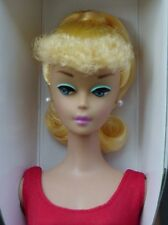 Blonde CURLY BANGS #5 Ponytail Vintage BARBIE Repro MIB STAND SWIMSUIT GLASSES
