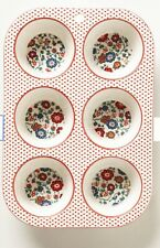 Anthropologie Muffin Baking Tray Pan Ceramic Floral Design Kitsch Retro