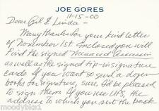 JOE GORES, author, AUTHENTIC HAND WRITTEN/SIGNED PERSONALIZED CARD