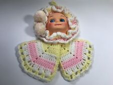 Vintage Knit Girl Doll Plastic Face Yellow White Pink Wall Hanging Collectible