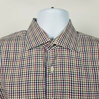 Peter Millar Mens Brown Blue Red Check Plaid Dress Button Shirt Size Large