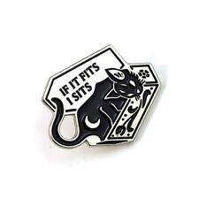 "Punk Black Cat Coffin Enamel Pin ""IF FITS I SITS"" Brooch Fresh Beautiful"
