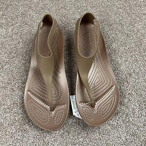 NWT Crocs Serena Flip Thong Sandals Women's Size 9 Bronze