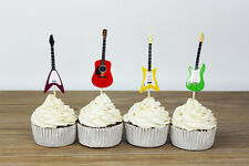 24 x GUITAR MUSICAL CUPCAKE CAKE TOPPERS / PARTY SUPPLIES/ BIRTHDAY/ INSTRUMENTS