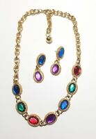 """Goldtone Multi color  Necklace and Pierced Earring Set 20"""" and 1 3/4"""""""