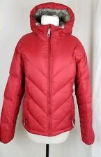 Women's Burton Goose Down Red Winter Nylon Jacket Puffer Hooded Size Medium