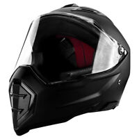 DOT Full Face Matte Black Motorcycle Helmet With Flip-Up Visor & Vented Ports