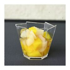 10 Small Plastic Hexagon Cups - - - - high quality clear cube dessert holders