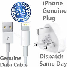 100% Genuine Apple iPhone 6 6S 6Plus 5 5C 5S Mains Wall Charger Plug + USB Cable