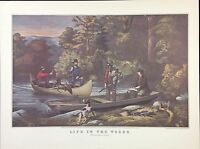 "1952 Vintage Currier & Ives ""RETURNING TO CAMP"" GAME HUNTING COLOR Lithograph"