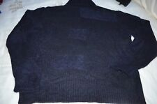 Ermenegildo Zegna Blue Soft 28% Mohair Turtleneck Sweater Size XXL Made in Italy