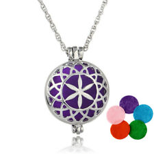 Aromatherapy Essential Oil Diffuser Necklace Pendant Hollow Flower Photo Locket