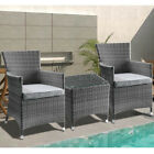 3pcs Patio Bistro Set Outdoor Wicker Rattan Chairs Table Garden Furniture Set