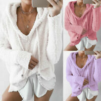 ZANZEA Women Long Sleeve Low Cut Rib Knit Sweaters Loose Casual Knitted Knitwear