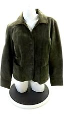 LIVE A LITTLE WOMEN'S OLIVE GREEN LEATHER SNAP UP JACKET SIZE L