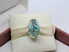 New w/ Box Pandora Aloha Mint Glitter Murano Glass Hawaii Bead Charm