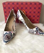NEW Tory Burch Elana 85MM Printed Pump Nappa Leather Sz 7