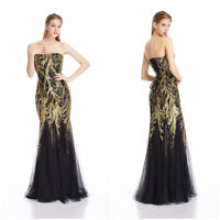 Angel-fashions Sleeveless Gold Branch Sequined Mesh Mermaid Evening Dress 101