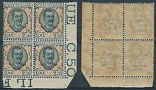1926 REGNO FLOREALE 2,50 LIRE QUARTINA LUSSO MNH ** - T240