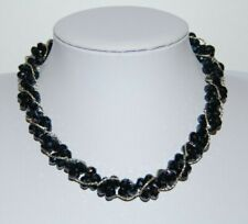 BEAUTIFUL BLACK GLASS FACETED BEADS AND SILVERED METAL TORSADE CHOKER NECKLACE