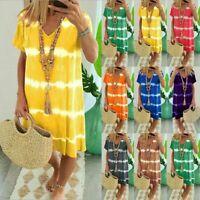 Women's V-Neck Midi T-Shirt Dress Summer Loose Casual Beach Sundress Plus Size