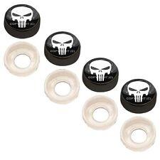 4 Black Custom License Plate Frame Screw Snap Caps Covers White P Skull B