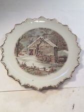 Currier and Ives The Old Homestead In Winter Collector Wall Plate Vintage