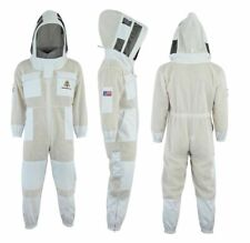 Bee Suit 3x Layers Ultra Ventilated Safety Protective Unisex White Fabric Mesh