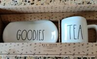 """BRAND NEW"" RARE Rae Dunn GOODIES & TEA Oval Plate and Coffee Mug Gift Set"