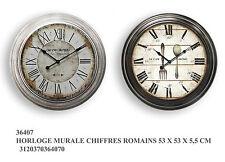 Orologio da muro parete tondo in metallo stile vintage cm 53*53 numeri romani