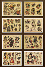 8.5x11 Sailor Jerry Navy  Military Set 2 Vintage Tattoo Flash Design Sheets Art