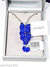 LALIQUE DARK BLUE FLOWERS  SEMIPRECIOUS FLEUR PAP NECKLACE S.SILVER NEW $1305.00