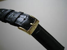 19MM BLACK LEATHER STRAP BAND YELLOW GOLD SMALL LOGO BUCKLE FOR OMEGA WATCH