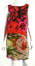 ERDEM Red, Pink & Multi-Color Abstract Print Silk Shift Dress 6 10UK