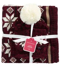 Charter Club Nordic 3pc Gift Set- Hat, Scarf, Gloves; Tomato-Tri-color (A2-03)