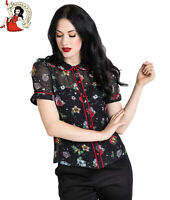 HELL BUNNY LOVEBIRD BLACK BLOUSE love FLORAL 50s VALENTINE rockabilly XS-4XL