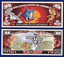 1-TOM and JERRY Dollar Bill Cartoon Cat- Mouse Collectible- FAKE- MONEY-V1