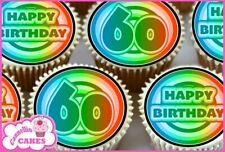 24 x 60TH HAPPY BIRTHDAY EDIBLE CUPCAKE TOPPERS CAKE WAFER RICE PAPER 7686