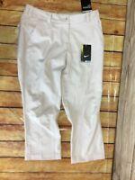 New Nike Women's Golf Pants Tech Crop White Size 4 Modern Rise 509743 $75 MSRP