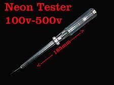 Neon Tester Phase Line Indicator Electric Pen Probe 100V-500V 185mm Clear Vision