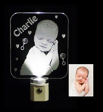 Photo Etched Baby Led Night Light, Personalized - Keepsake, Newborn