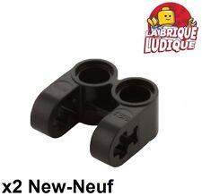 Lego technic - 2x pin connector double split noir/black 41678 NEUF