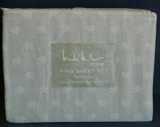 Nicole Miller 4 PC KING Sheet Set Moroccan Elephants Light Grey Cotton NIP