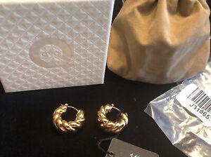 """New Milor Italy 14K Gold over Resin 7/8"""" latch back swirled hoop earrings"""